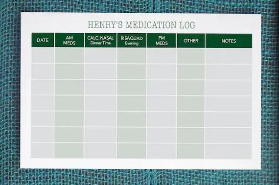 Printable Custom Medication Log   Weekly Medication Log / Etsy - medication schedule printable