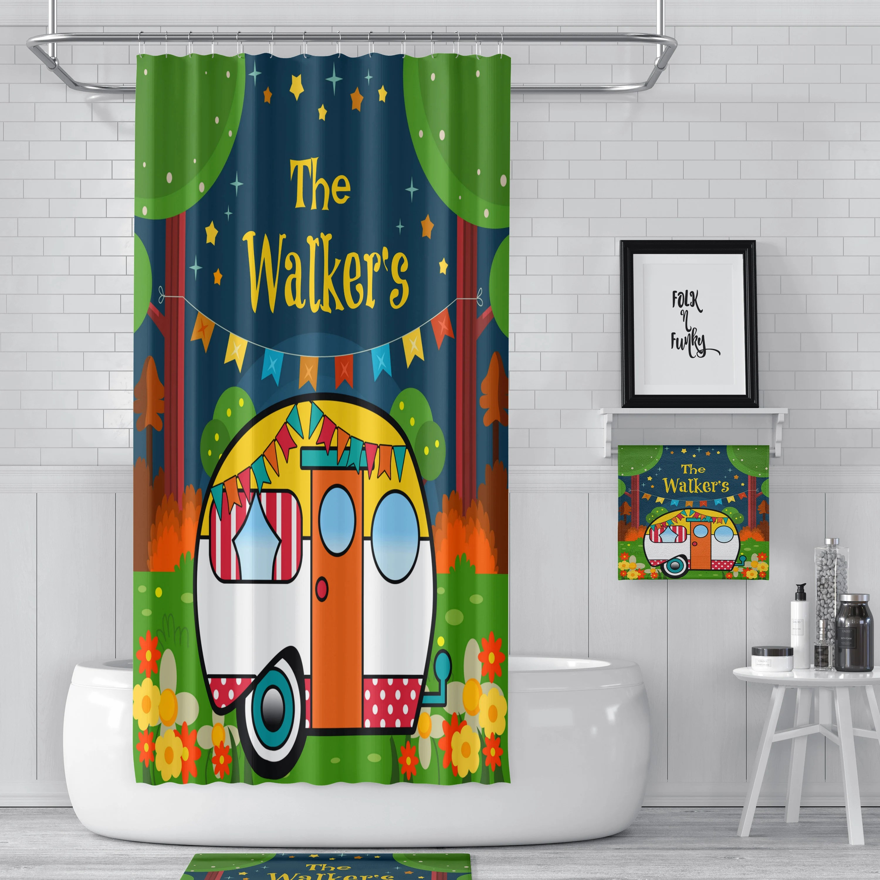 Rv Shower Curtain 47 X 64 Rv Sized Shower Curtain 47x64 Custom Personalized Camper Decor