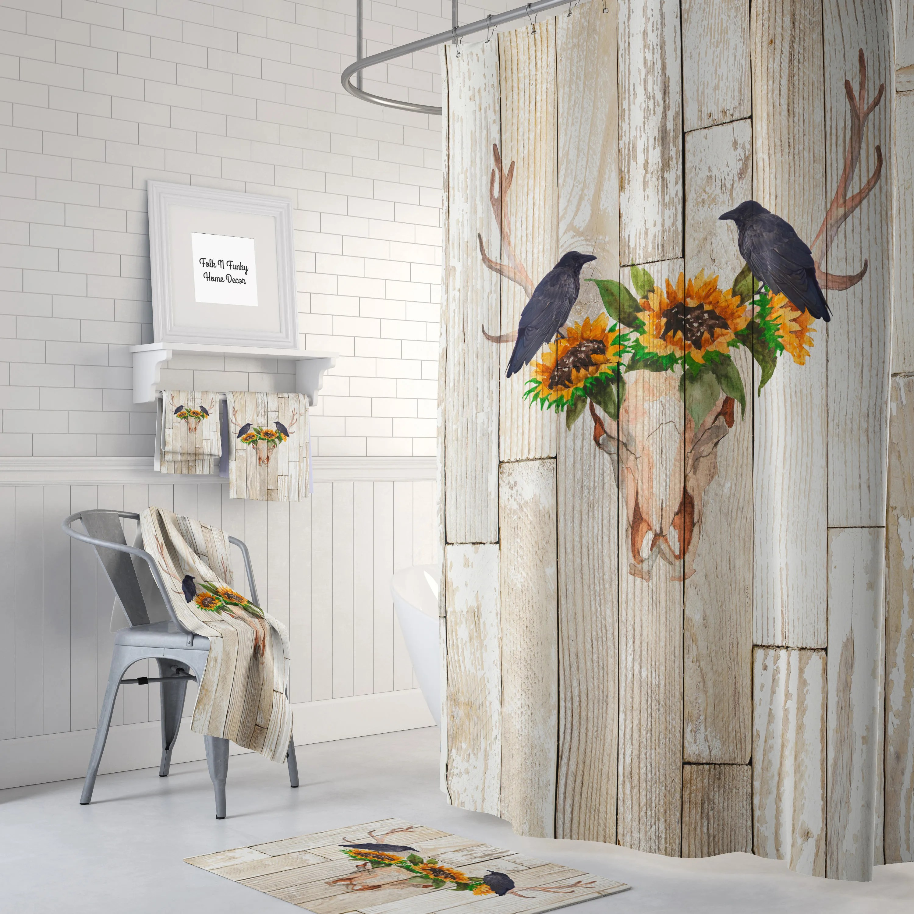 Cheap Rustic Shower Curtains Rustic Shower Curtain Antlers Sunflowers Crow Rustic Wood
