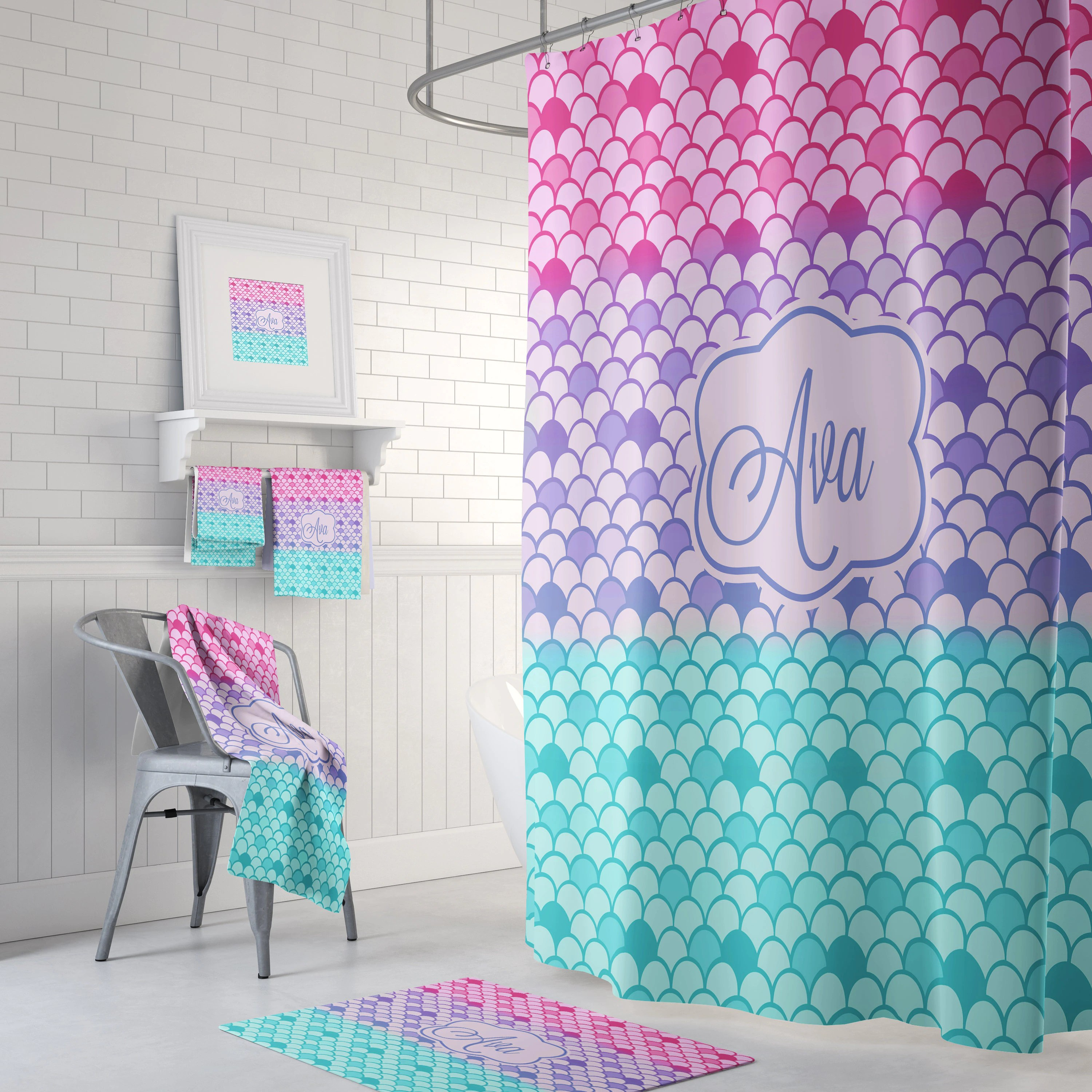 Mermaid Scale Shower Curtain Mermaid Scales Shower Curtain Bath Mat Towels Teal Pink