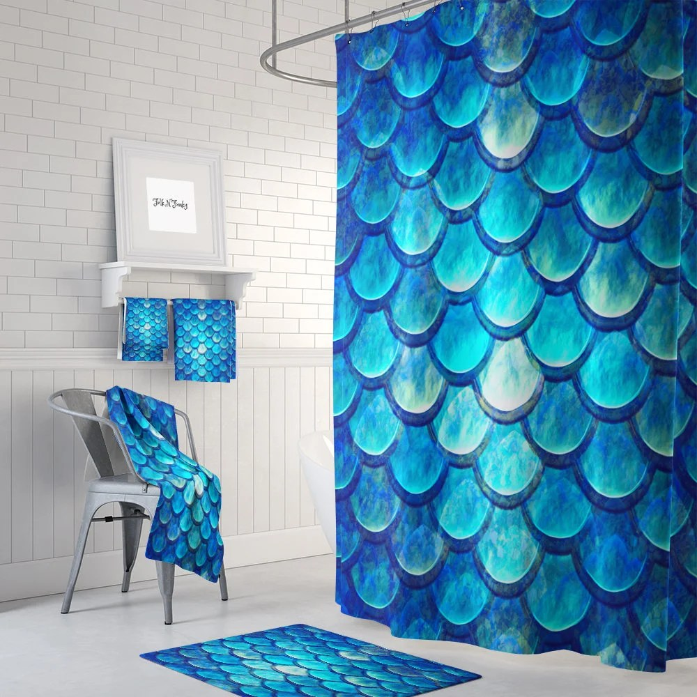 Mermaid Scale Shower Curtain Ocean Blue Mermaid Scales Shower Curtain Optional Bath Bath Towels Mat Bathroom Set