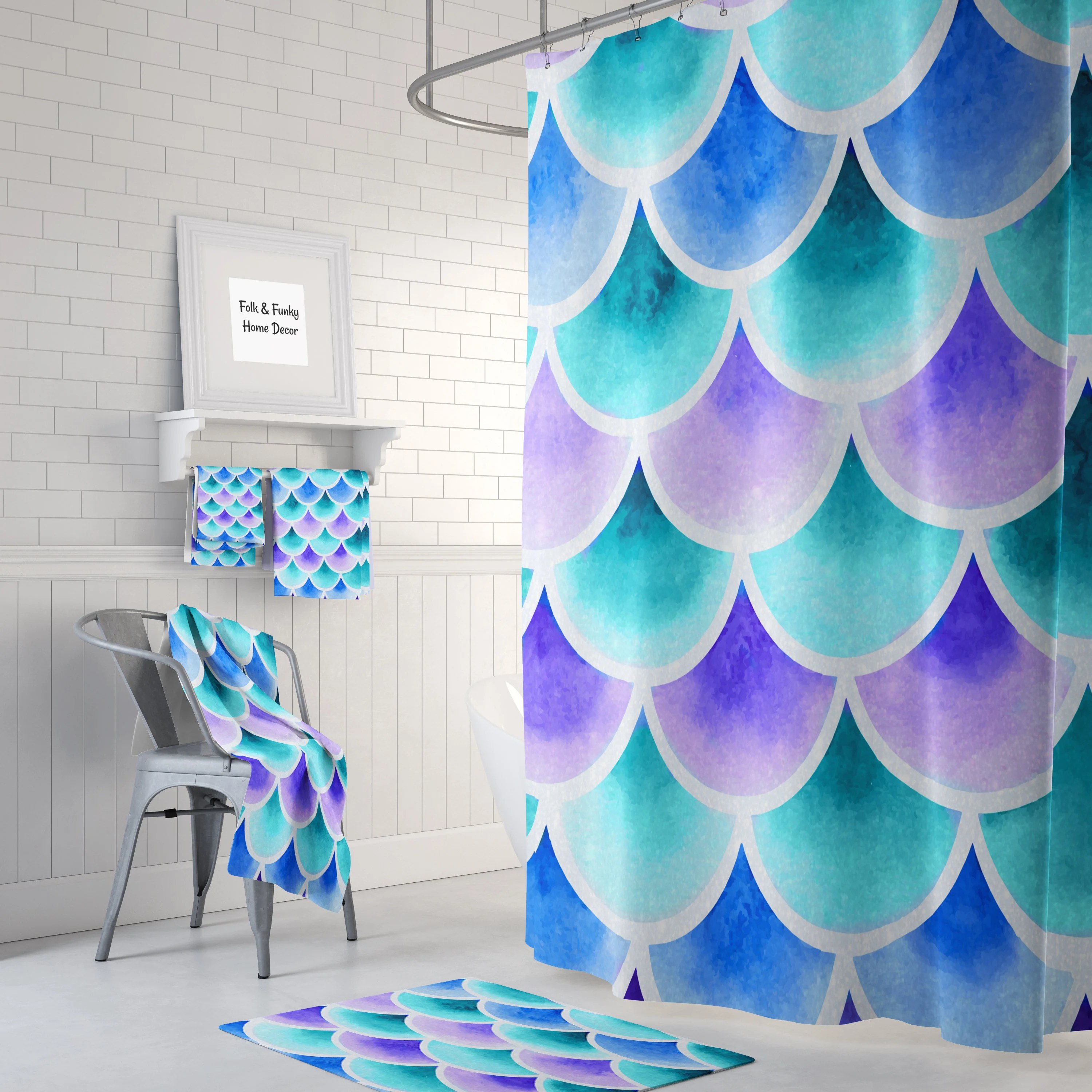 Mermaid Scale Shower Curtain Mermaid Scales Shower Curtain Turquoise Blue Purple Bath Mat And Towels Available