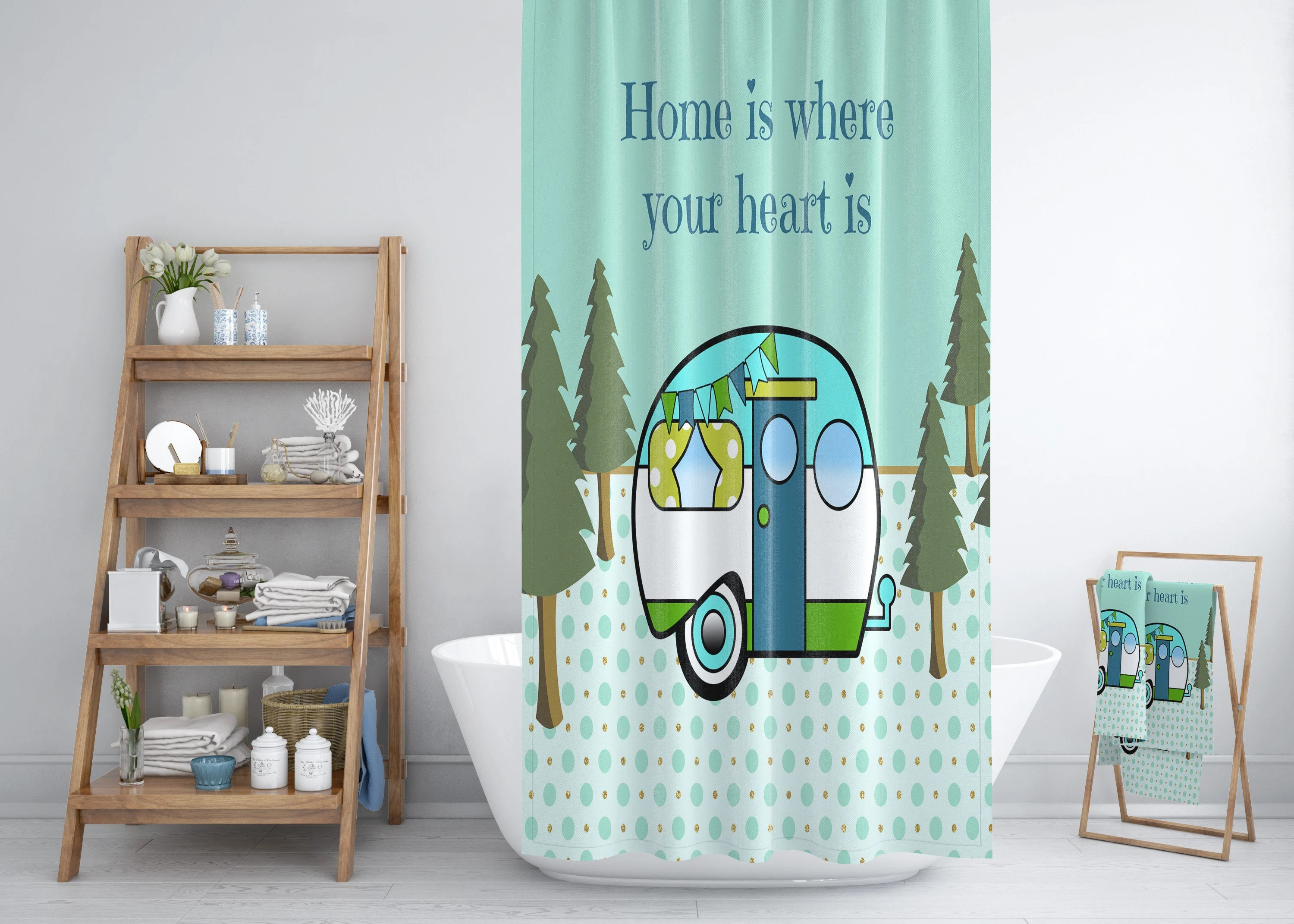 Rv Shower Curtain 47 X 64 Shower Curtain Rv Size 47 X64 Home Is Where We Park It Camper