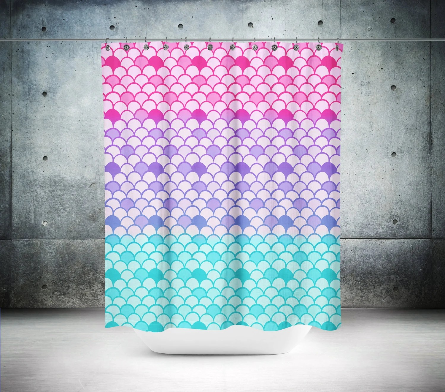 Mermaid Scale Shower Curtain Mermaid Scales Shower Curtain Optional Bath Mat Bathroom Set Pink Purple Aqua