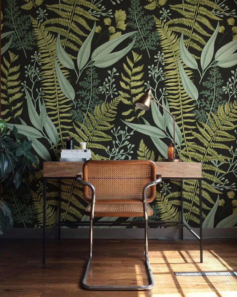 Herbal Wallpaper Botanical Wallpaper Ferns Wallpaper Wall Mural Green Home Décor Herbal Decorations Easy Instal Wall Decal Removable Wallpaper B008