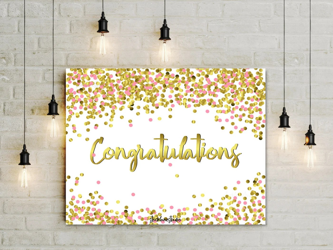 Digital Download Congratulations sign Pink confetti party Etsy