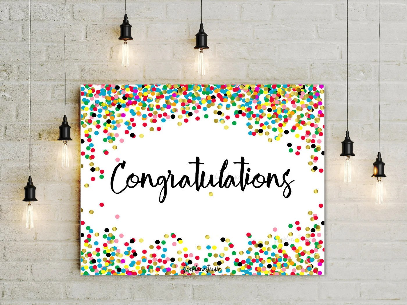 Congratulations Printable confetti party Sign sprinkles Etsy