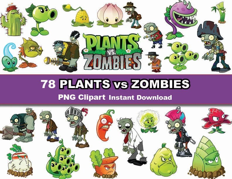 Instand DL 78x Plants VS Zombies clipart printable Digital Etsy