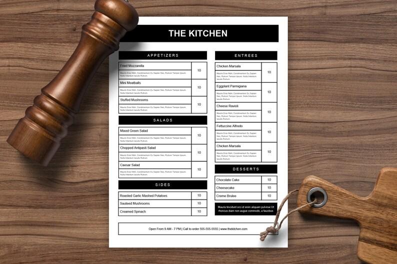 Food menu Restaurant Menu black and white menu 2 column Etsy