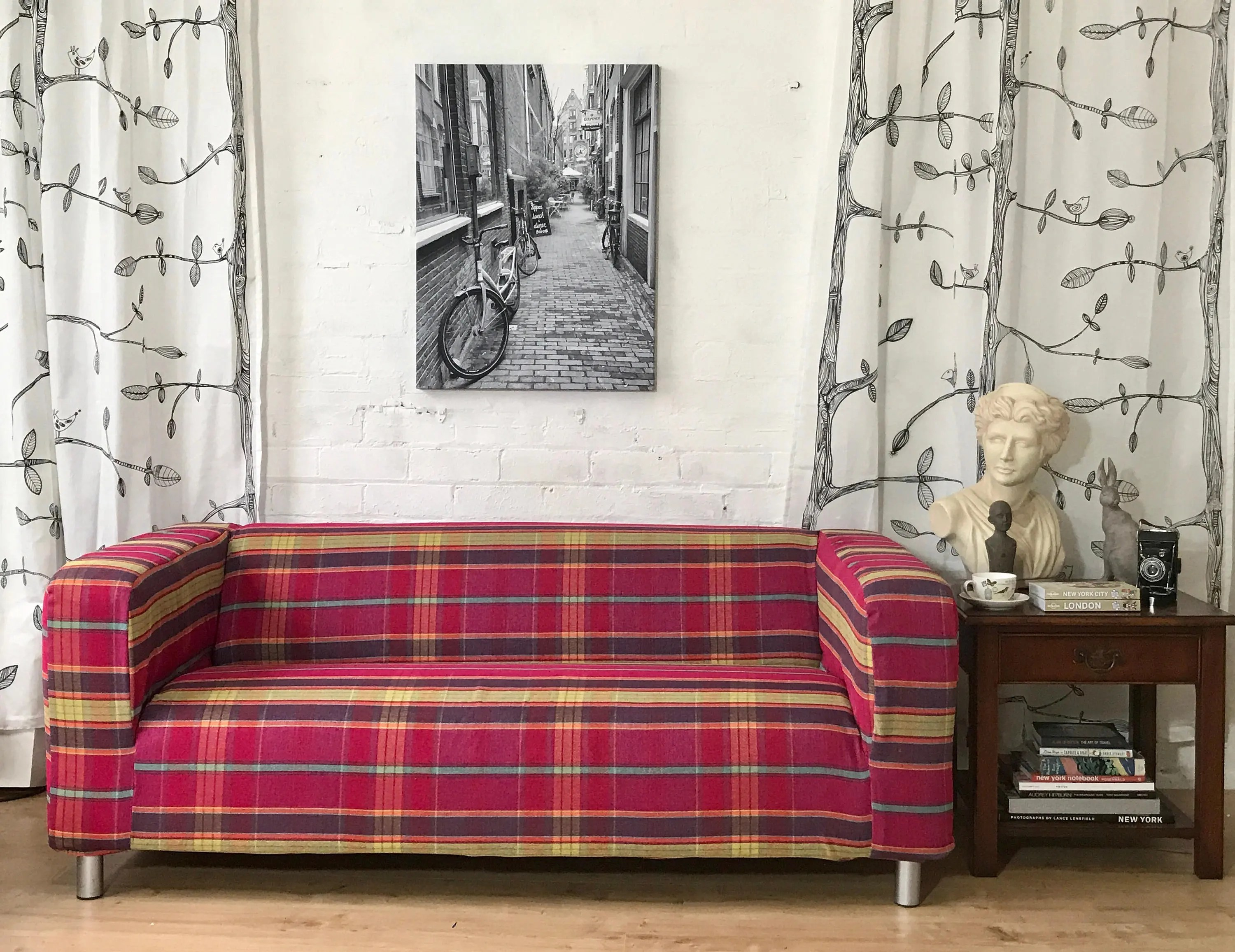 Ikea Sofa 180 Cm Slip Cover To Fit The Ikea Klippan 2 Seat Sofa 180cm Stunning Linen Textured Tartan Pattern Cerise And Lime