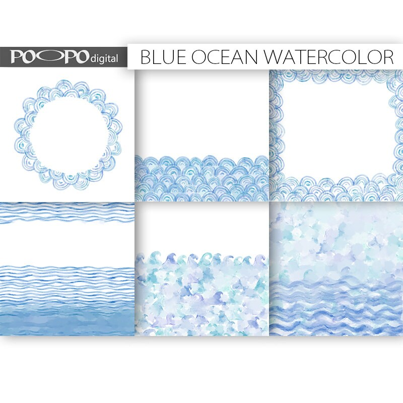 Ocean watercolor digital paper 85 x 11 invitation wedding Etsy