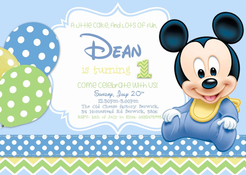 SALE Baby Mickey Birthday Invitation/Boy Birthday/ Mickey Mouse