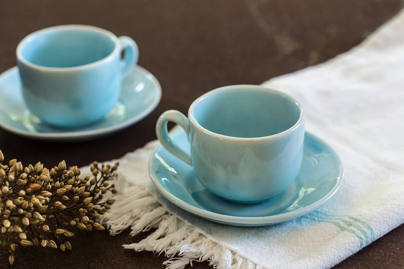 Small Coffee Cups And Saucers Espresso Cup Set 4 Light Blue Pottery Tea Cups Saucers Ceramic Coffee Small Mug Coffee Lovers Gift Ready To Ship