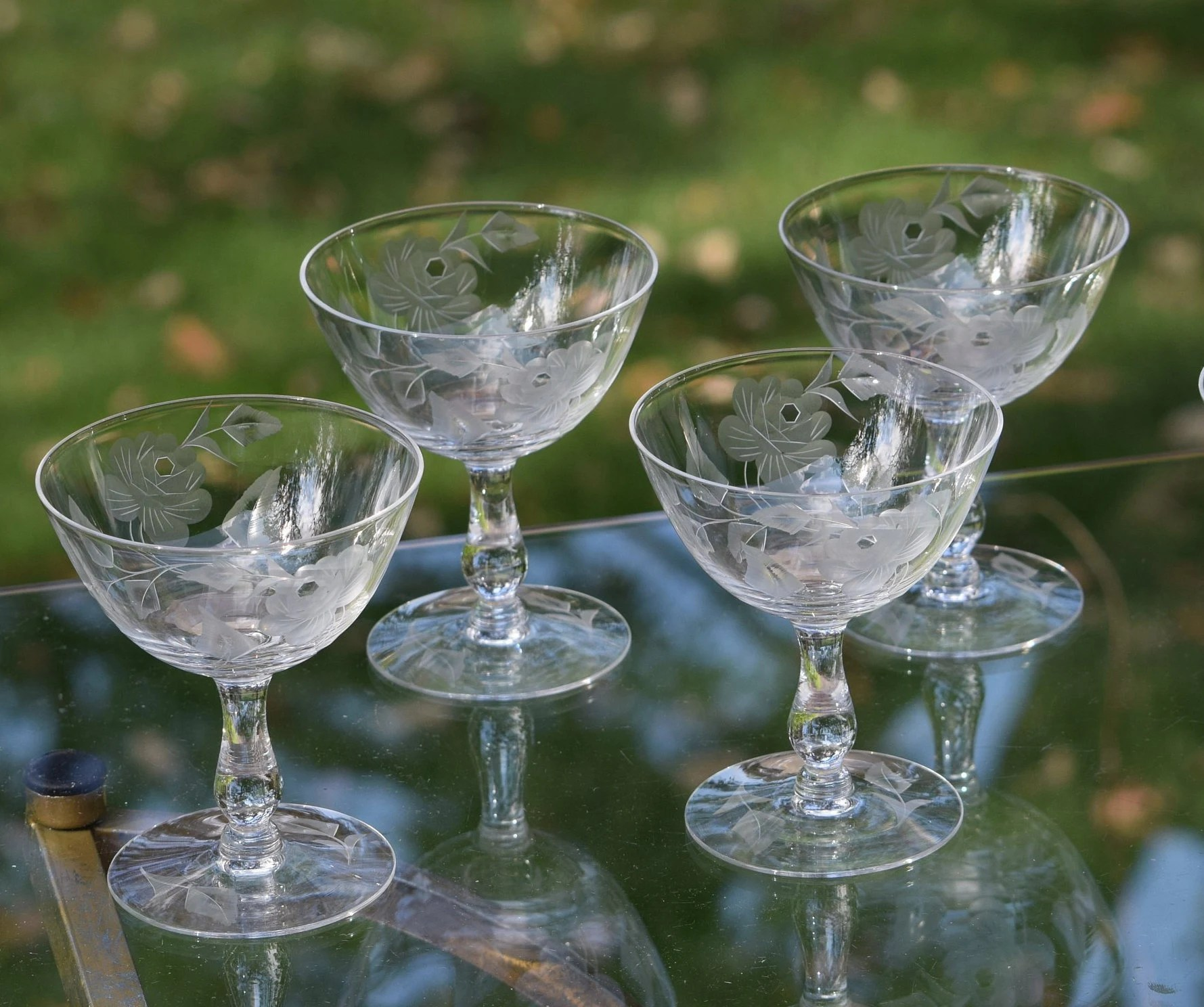 Champagne Coupe Vintage Etched Crystal Champagne Coupe Glasses Set Of 6 Vintage Etched Cocktail Martini Glasses Antique Cocktail Glasses