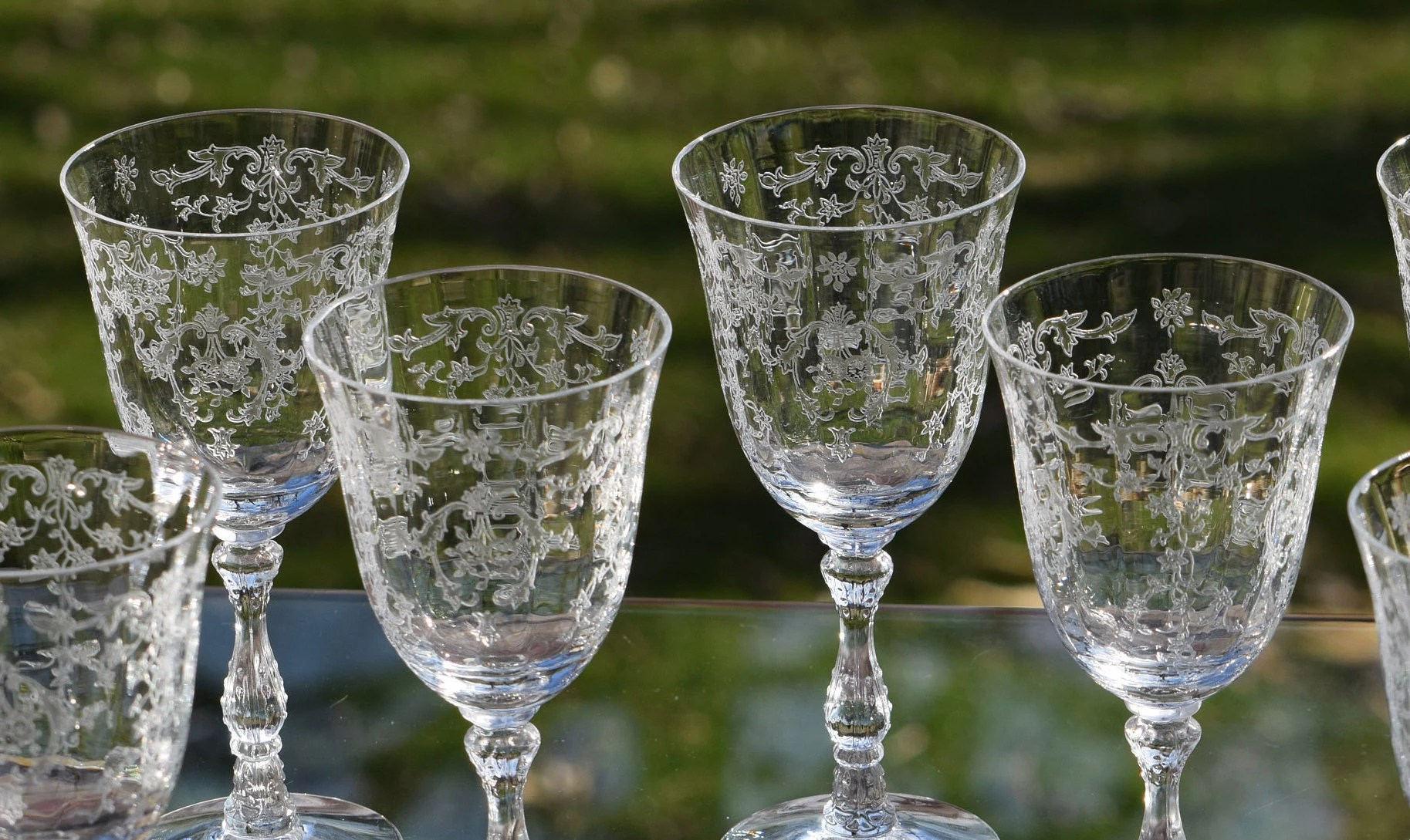 Large Crystal Wine Glasses Vintage Etched Crystal Wine Glasses Set Of 1 Fostoria