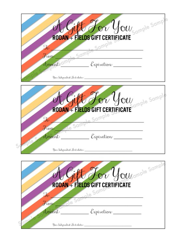 Rodan Fields Gift Certificate Printable Immediate Etsy