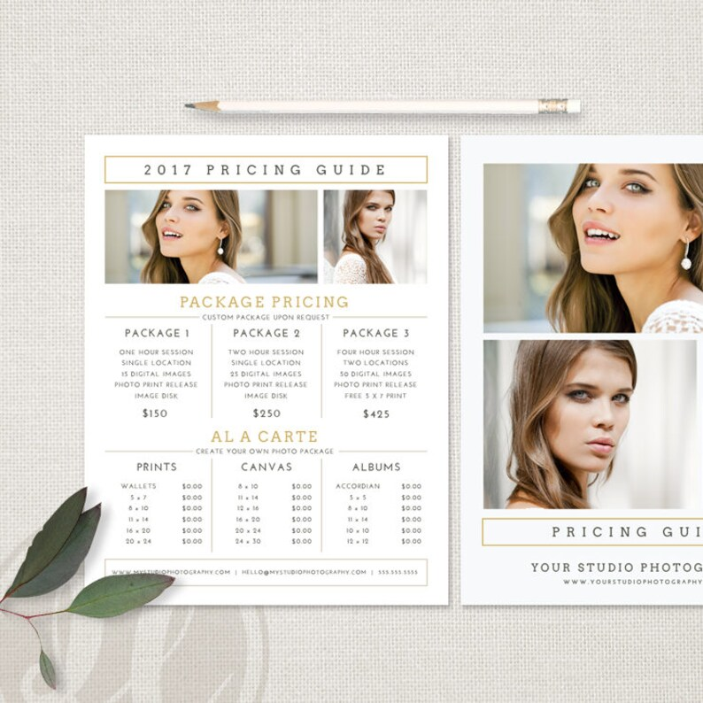 Photo Price List Photography Pricing Template Price Guide Etsy