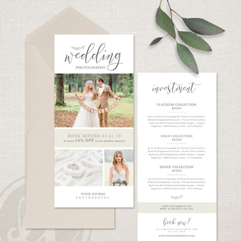 Rack Card Template for Photographers Wedding Photography Etsy