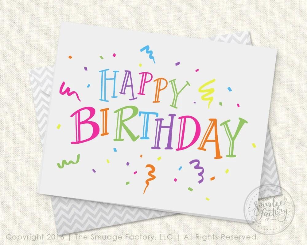 Happy Birthday Printable Card, DIY Birthday Card, Print and Cut