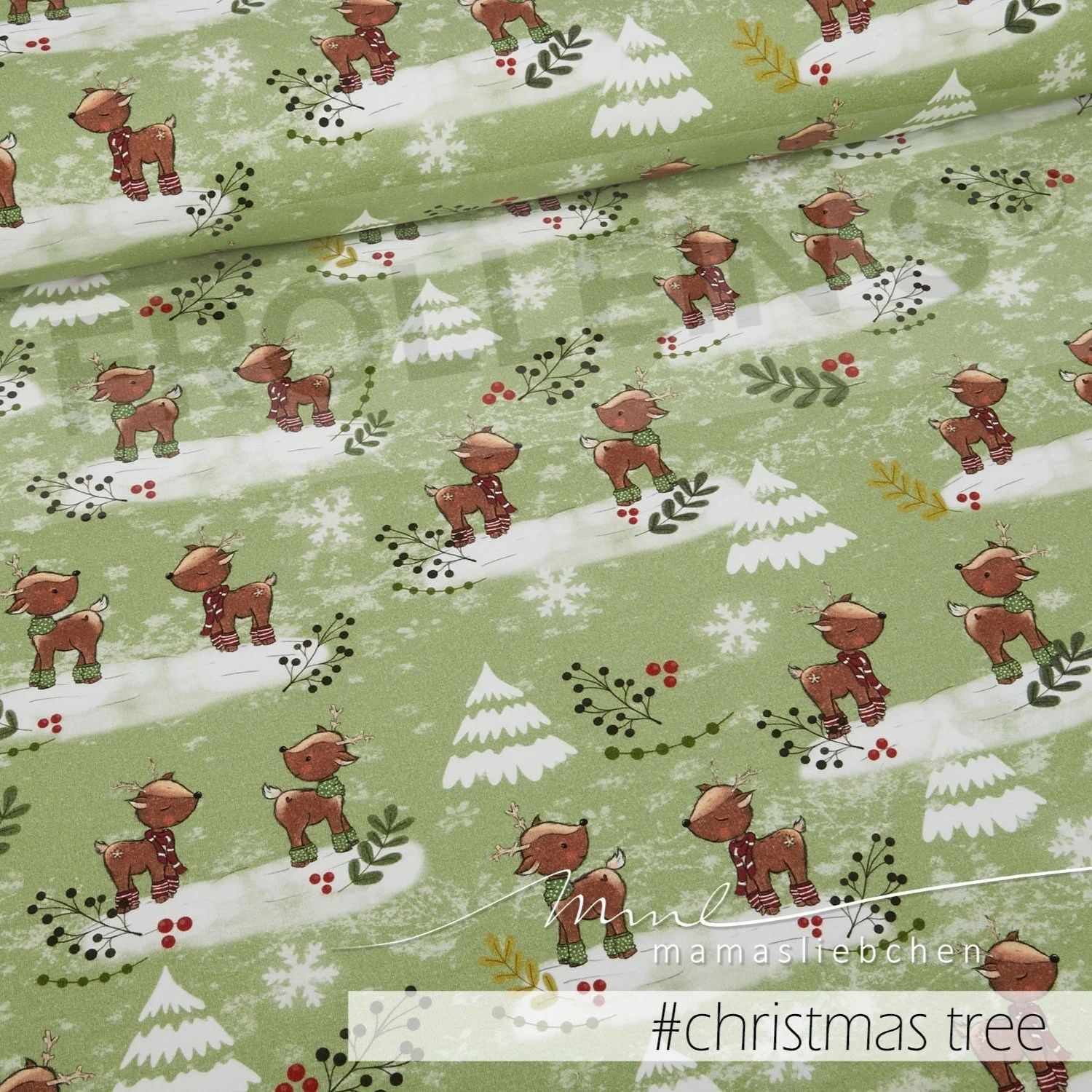 Quilt Oberhausen French Terry Jersey Winter Fawn Green Christmas Tree