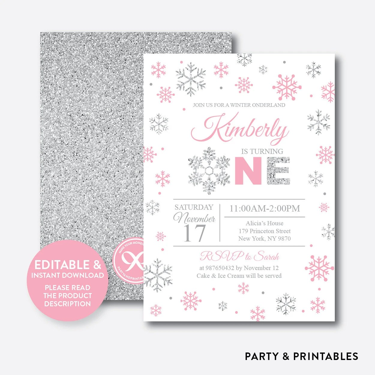 Instant Download, Editable Winter Onederland Birthday Invitation