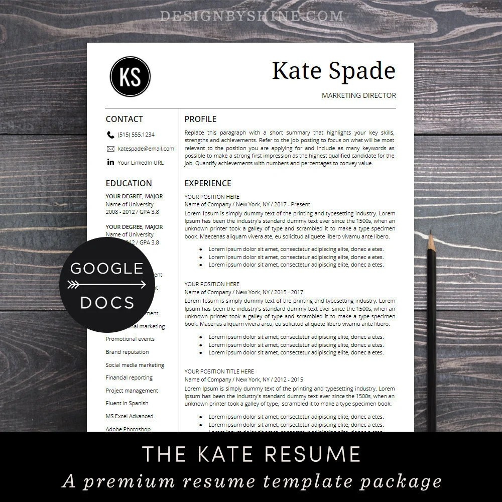 Google Docs Resume Template Professional Resume CV Template Etsy