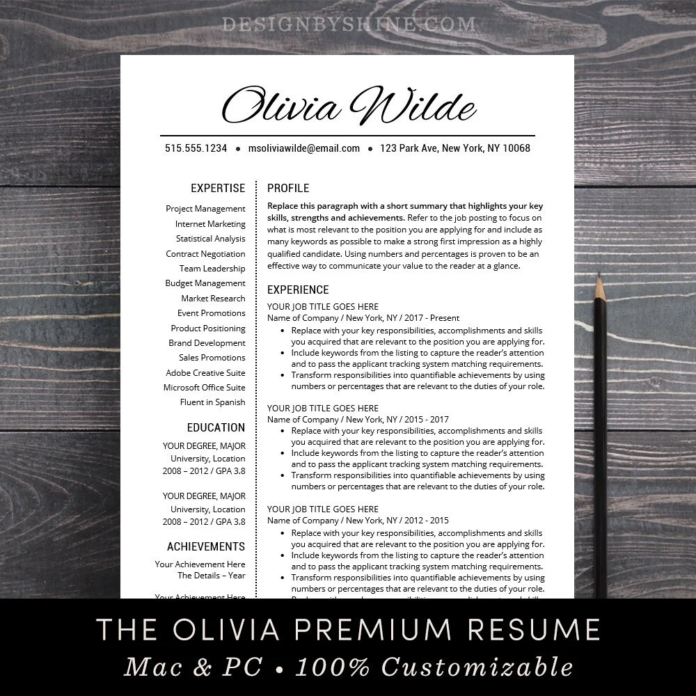 Resume Template Creative CV Template Teacher Resume Template Professional  Resume Word Mac Pages Instant Download Free Cover Letter - Olivia