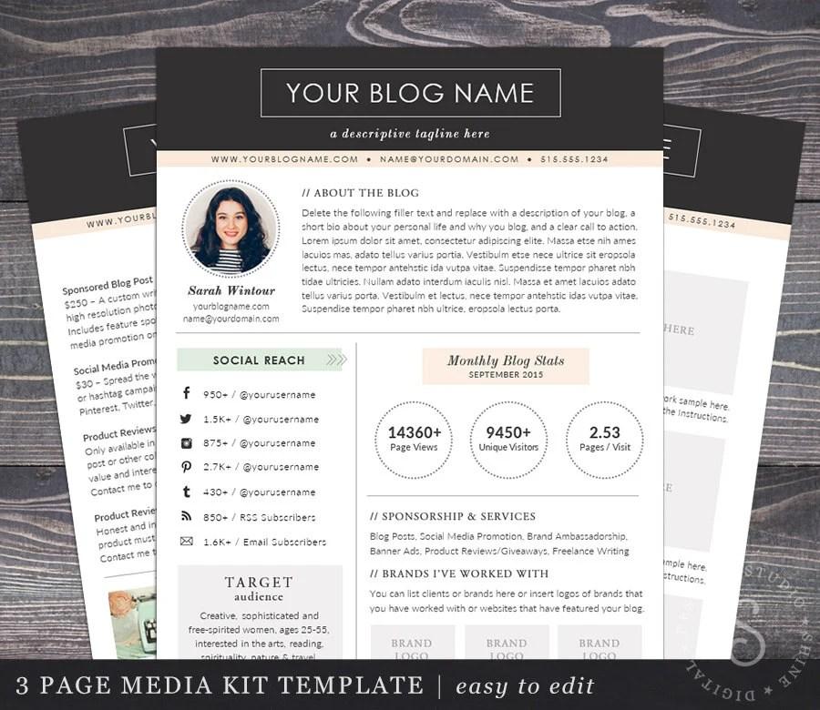 Media Kit Template Blogger Media Kit 2 Page Blog Press Kit Ad Etsy