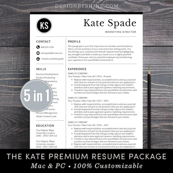 Professional Resume Template / CV Template Free Cover Letter Etsy - creative professional resumes