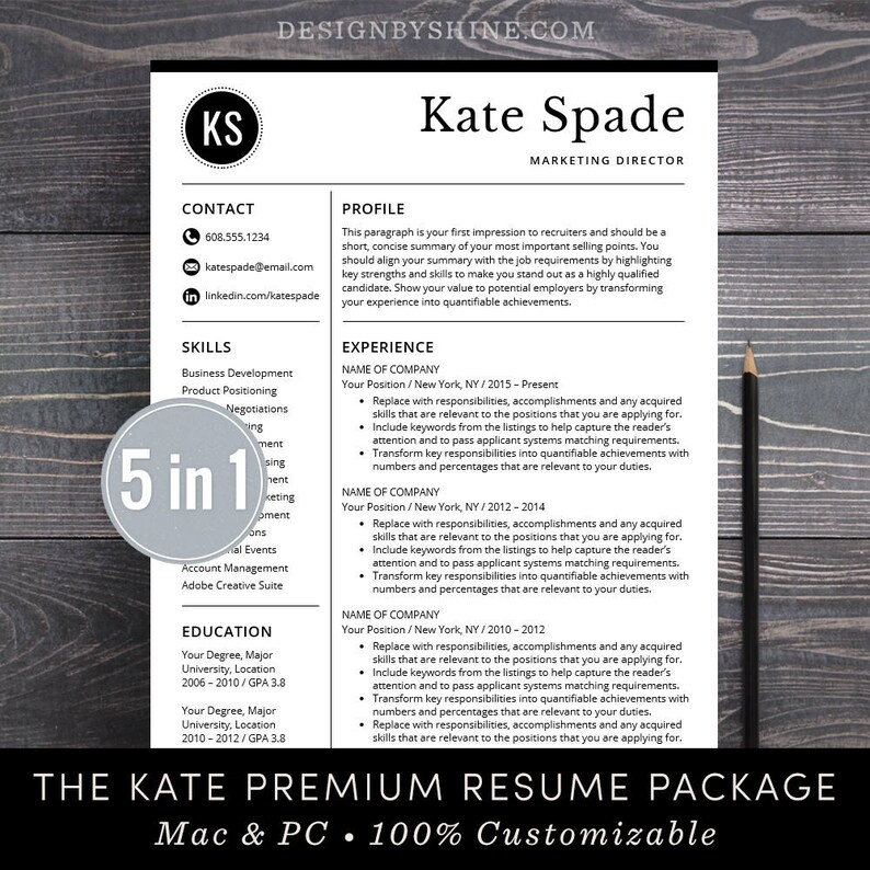 Professional Resume Template / CV Template Free Cover Letter Etsy