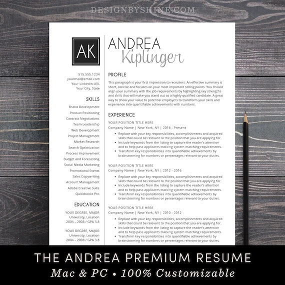Resume Template CV Template Word for Mac or PC - resume templates word for mac