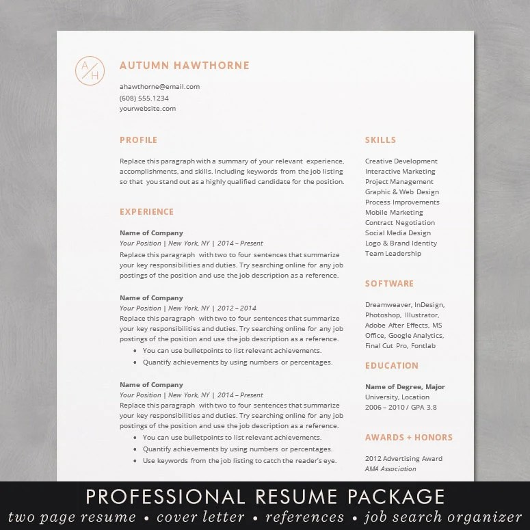 Minimal Modern Resume / CV Template Word Mac or PC Etsy