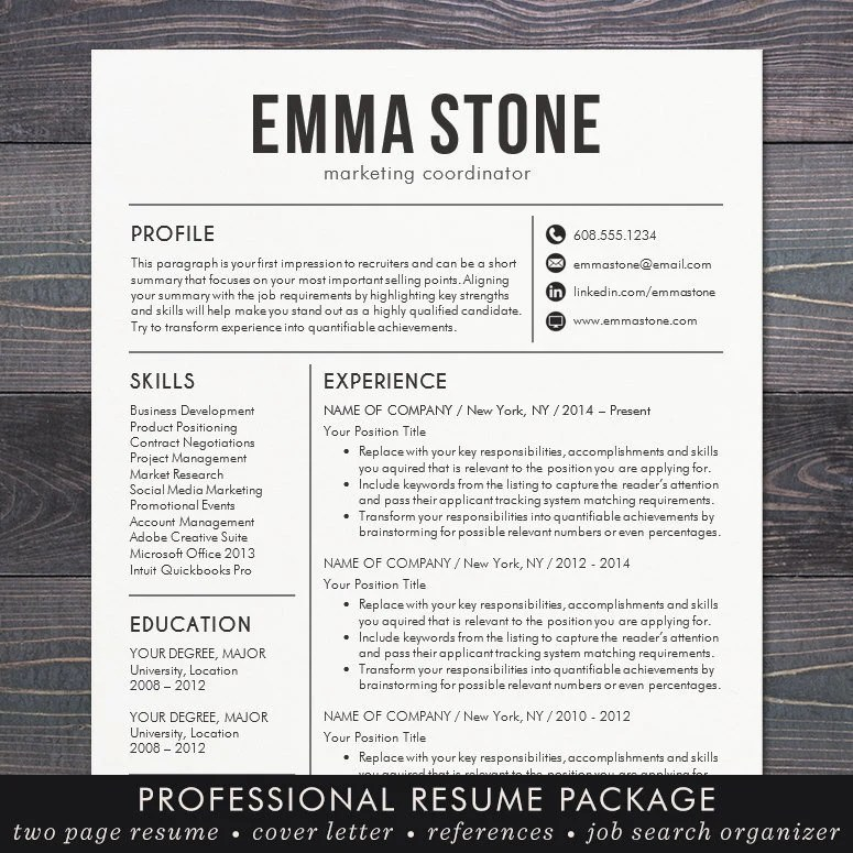 Resume Template CV Template for Word Mac Pages Etsy