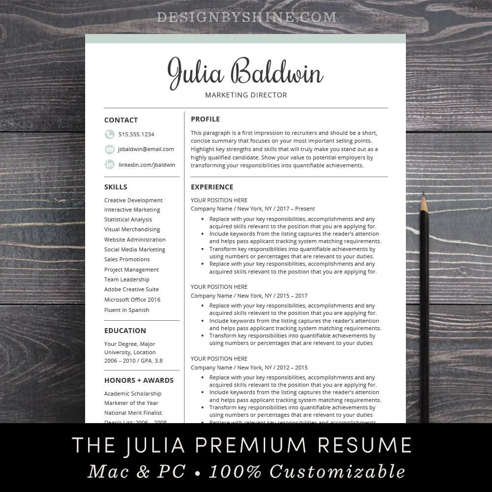 Professional Resume Template for Word and for Mac Pages Etsy