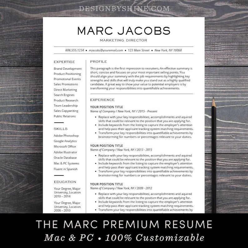 Modern Resume Template CV Template for Pages Word Etsy