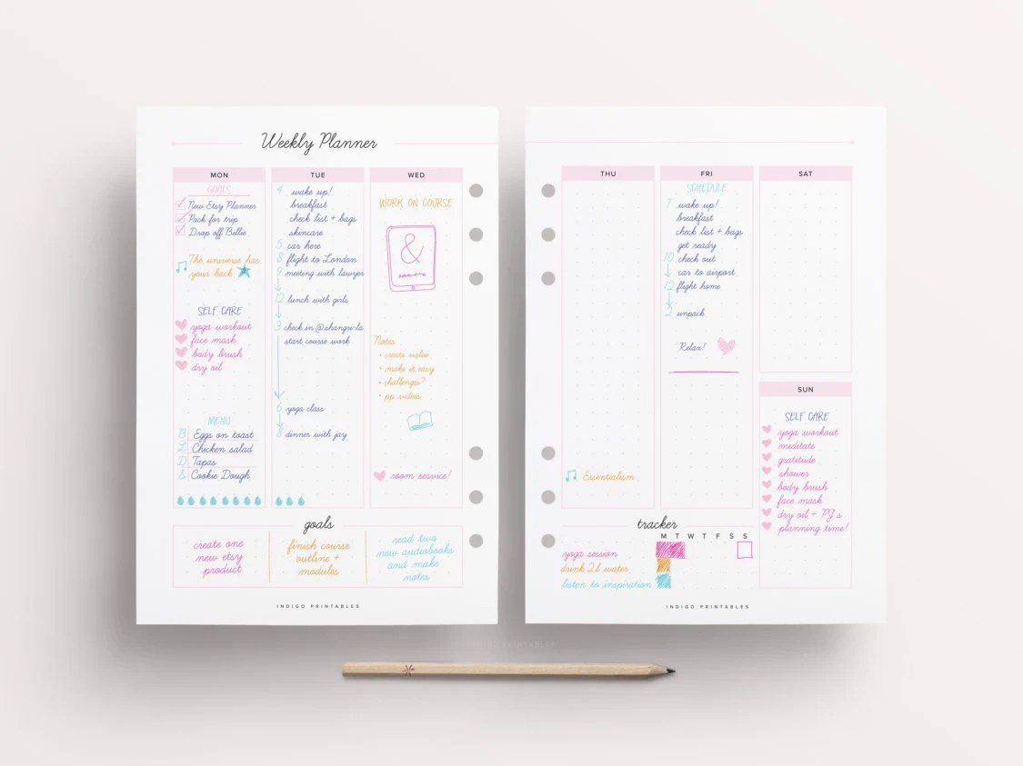 Weekly Planner Weekly Planner on Two Pages Blank Weekly Etsy - weekly planner pages