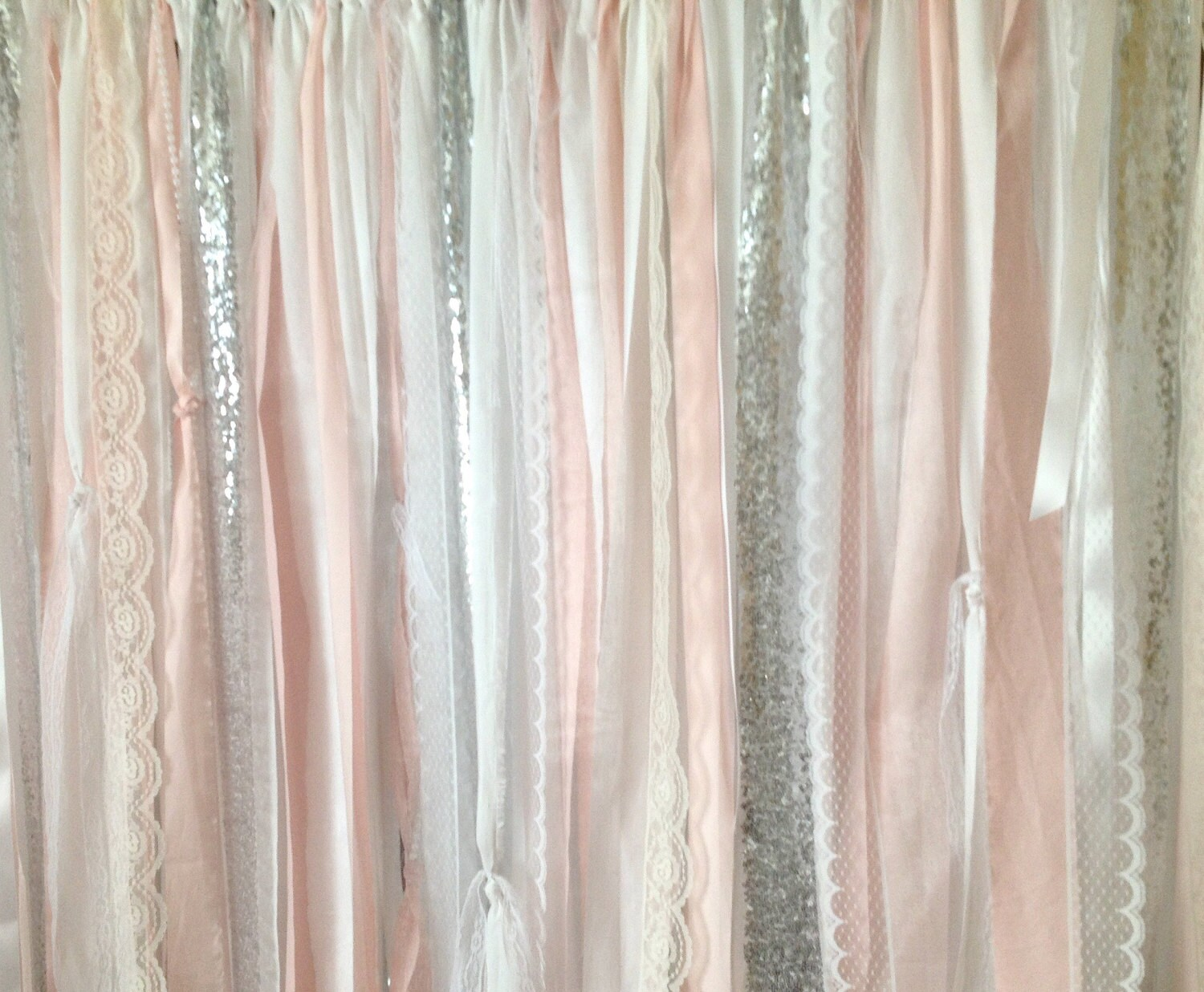Pink Sequin Curtains Blush Silver Sequin Curtains Fabric Ribbon Garland Nursery Pink White Ivory Photo Prop Curtain Wedding Shower Cakesmash Party
