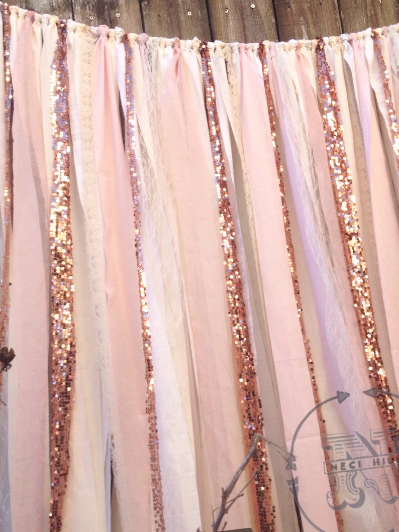 Pink Sequin Curtains Rose Quartz Backdrop Sequin Ribbon 6 Ft Long Rose Quartz Garland Curtain Sparkly Glitter Blush Pink Ivory White Rose Gold Pantone Wedding