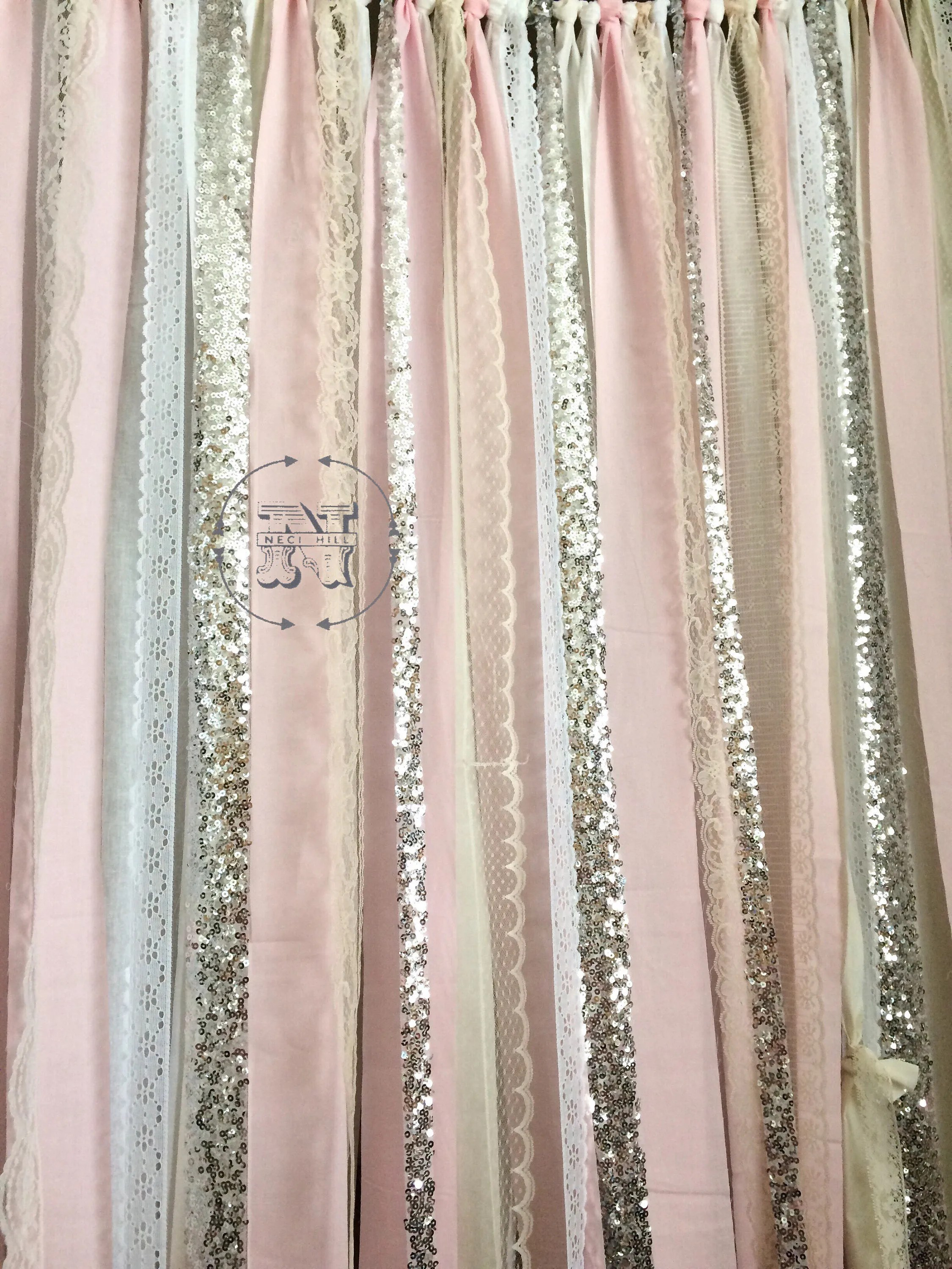 Pink Sequin Curtains Blush Backdrop Silver Sequin Curtains Fabric Rag Garland Nursery Ribbon Pink Gray White Ivory Photo Prop Curtain Wedding Shower Cakesmash