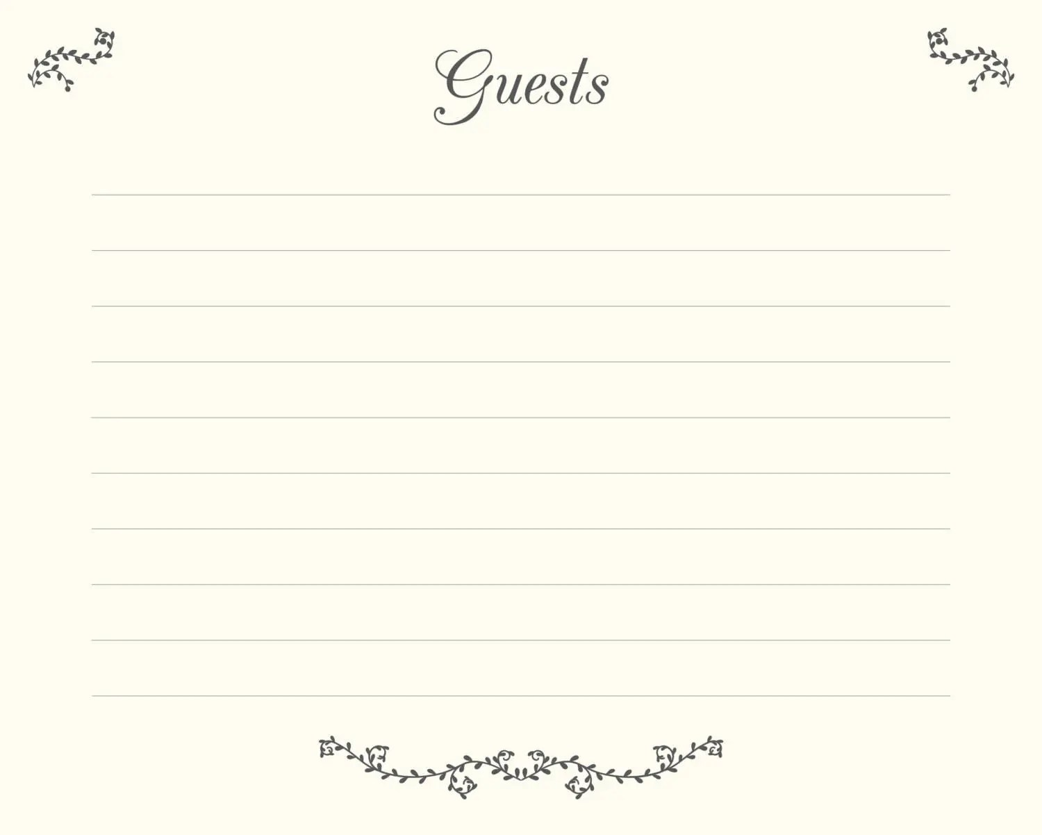 Wedding Guest Book Pages Printable File Guests Template - printable guest book templates