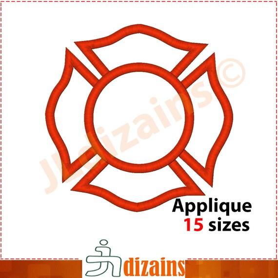Firefighter Badge Applique Design Firefighter badge Etsy