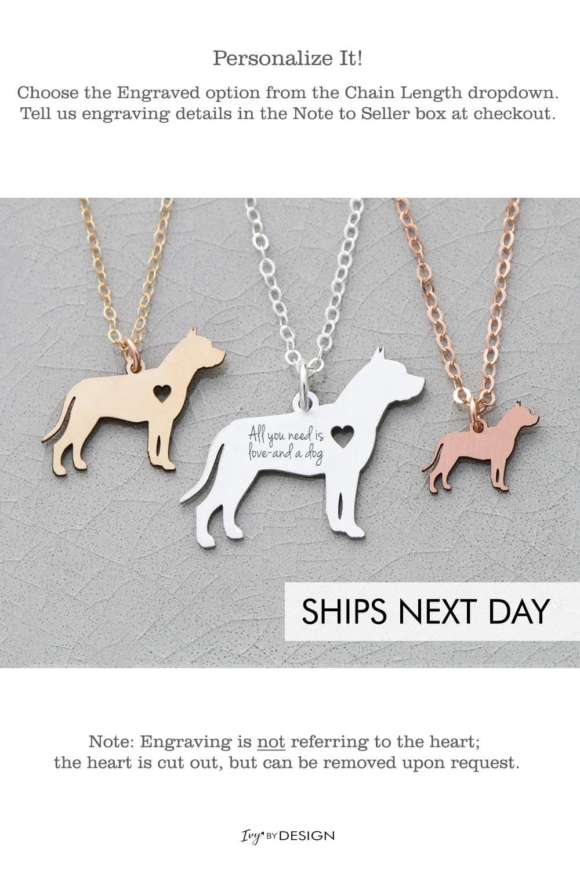 Pit Bull Dog Necklace Pitbull Jewelry Dog Gift Animal Rescue Etsy