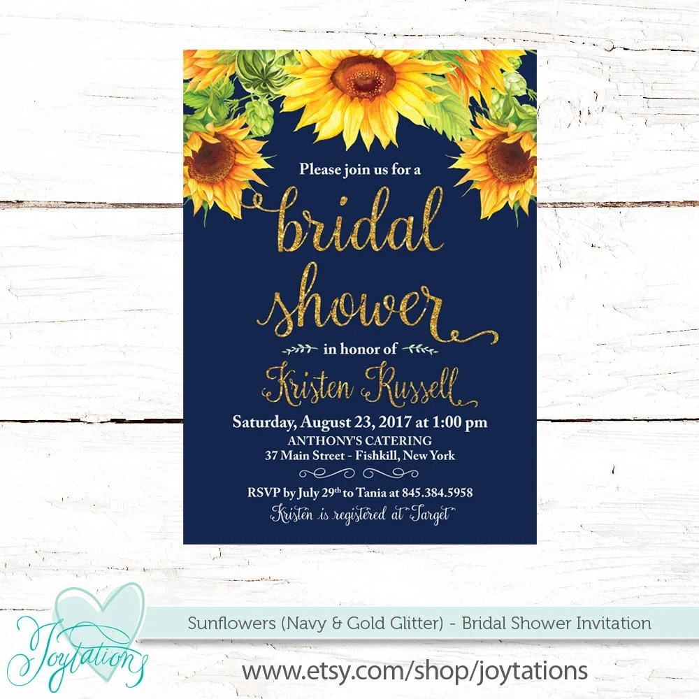 Sunflowers Bridal Shower Invitation Printable, Navy Gold Glitter and