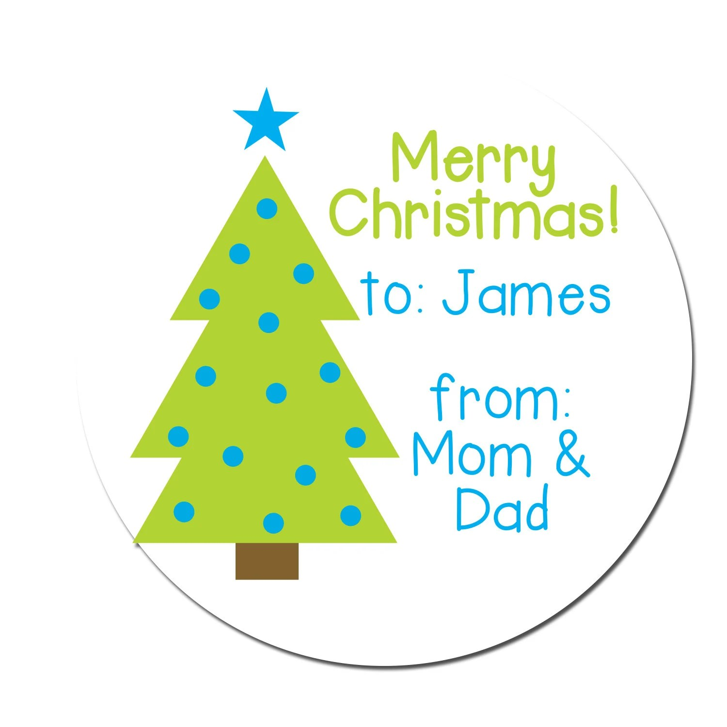 Merry Christmas Sticker Holiday Labels Christmas Tree Etsy
