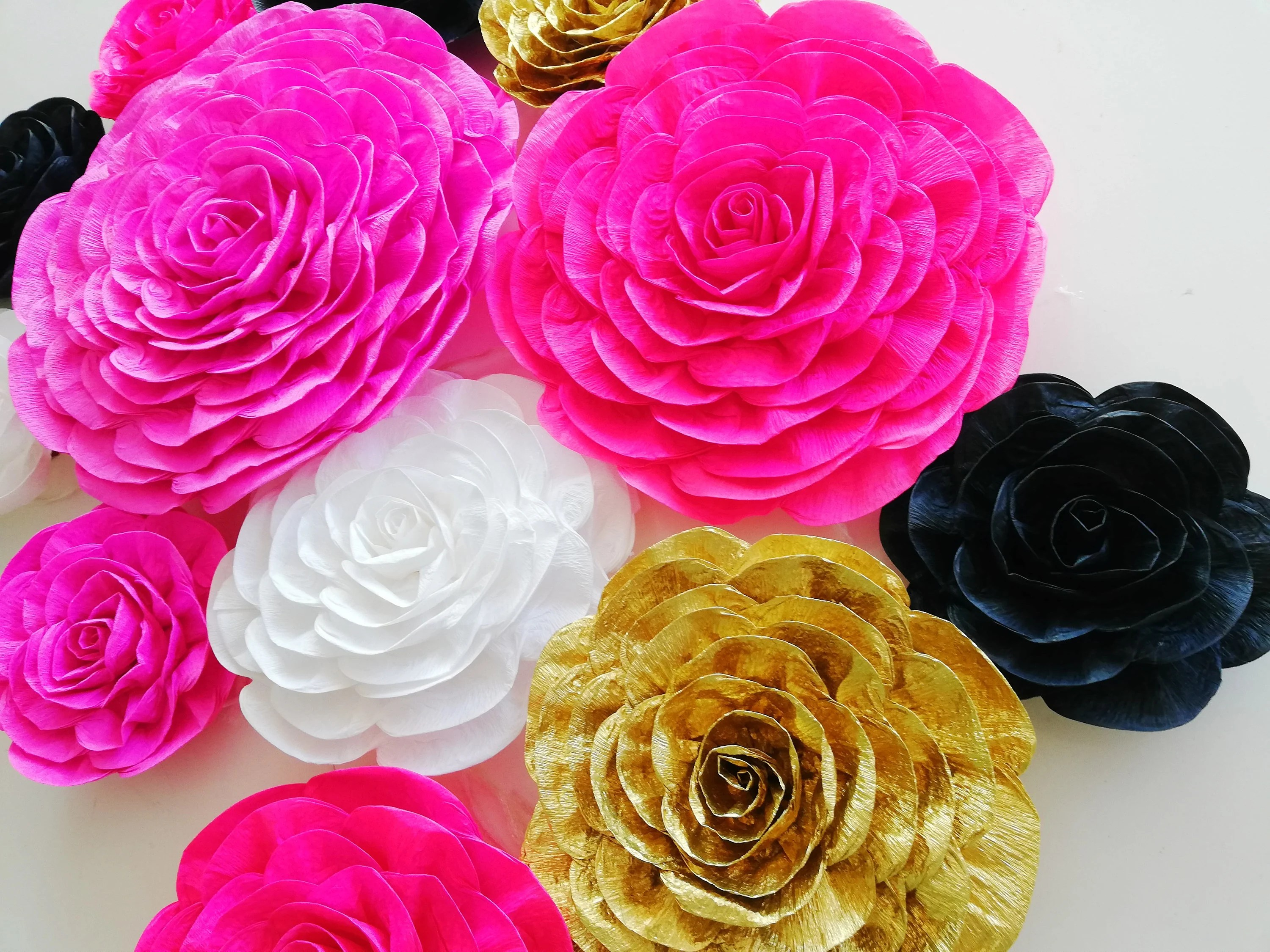 Glitter Gold Black 12 Large Crepe Paper Flowers Wall Etsy