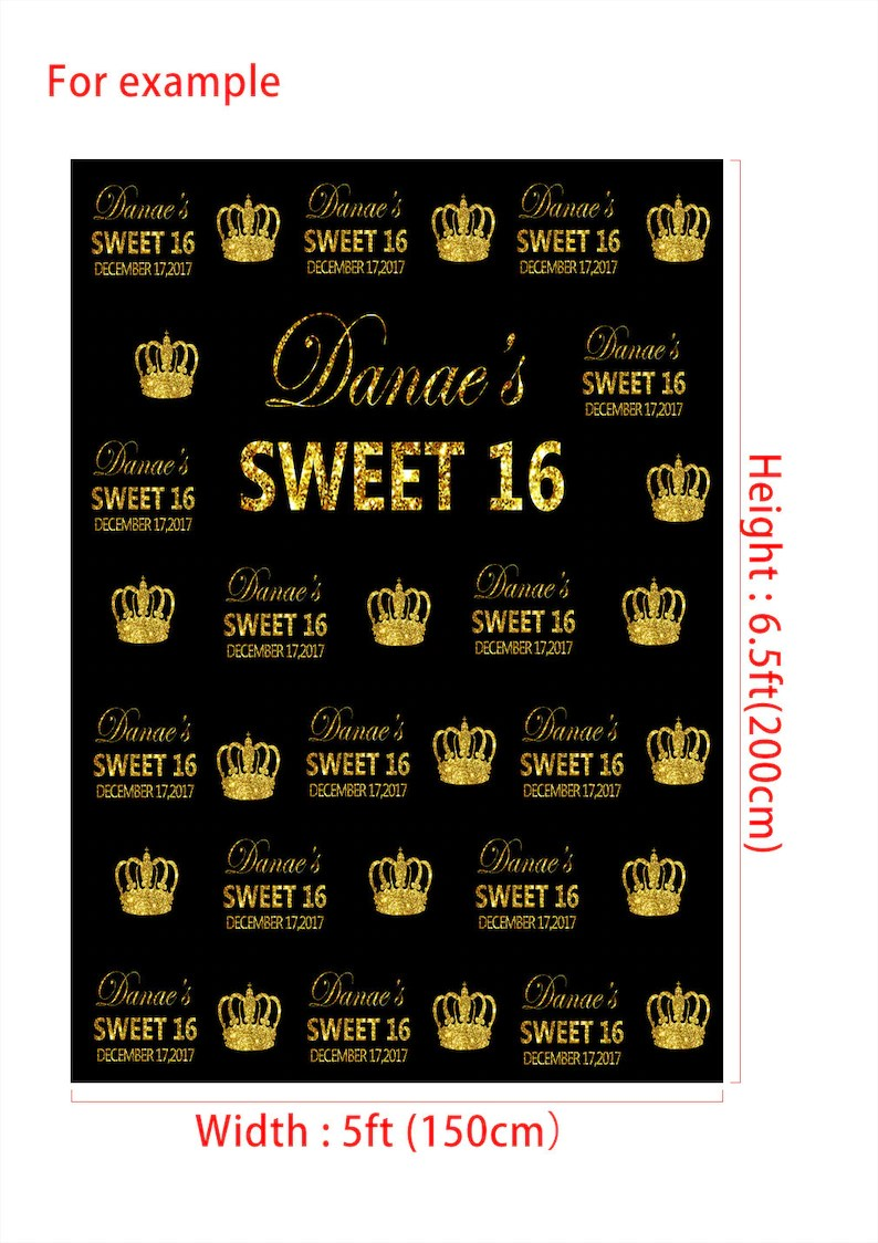 Contoh Desain Backdrop Gold And Black Sweet 16 Birthday Banner Photography Backdrops Custom Step And Repeat Photo Backgrounds For Children Party Studio Props