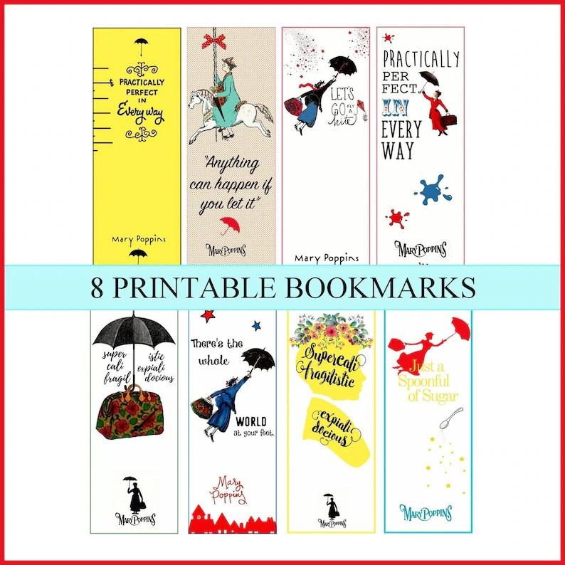 Printable BookmarksBook Lover Bookmark Mary Poppins digital Etsy