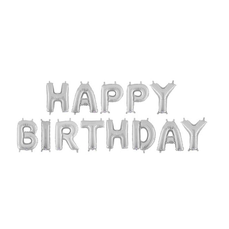 Feliz cumpleaños plata letra globos de feliz cumpleaños Etsy