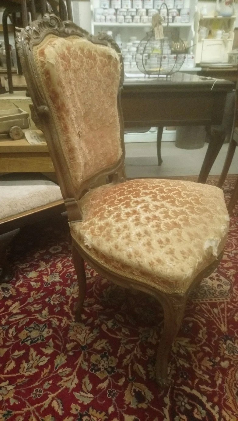 Fauteuil Shabby Chic Antique French Pretty Ornately Carved Louis Xv Style Side Chair