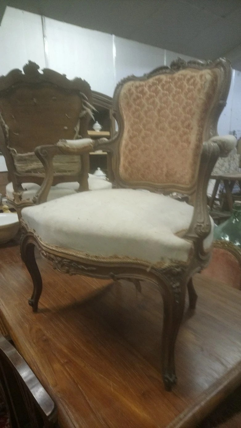 Fauteuil Shabby Chic French Antique Armchair Pretty Ornately Carved Louis Xv Style
